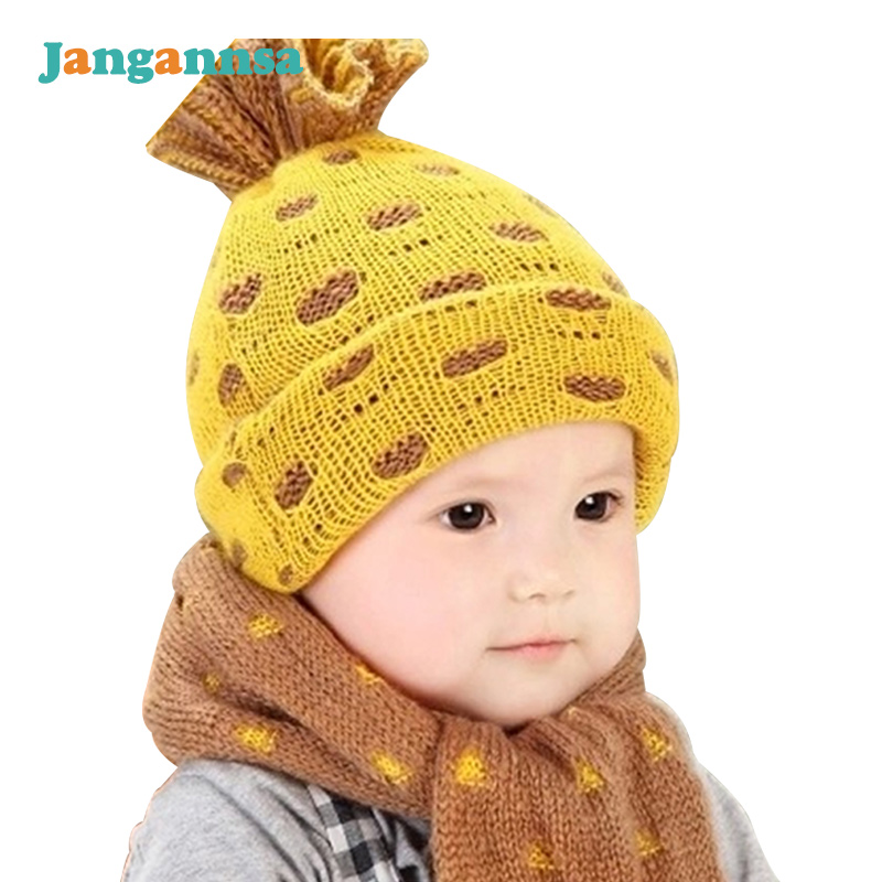 757075d3a76 DMROLES 2pcs lot Baby Winter Hat   Scarf Baby Winter Cap Children Warm Scarf  For Boys ...