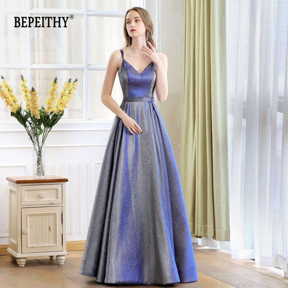 Robe De Soiree Reflective Dress V-neck Long Evening Dress Party Elegant 2019 A Line Shinny Prom Dresses With Belt