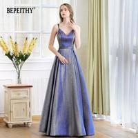 Robe De Soiree Reflective Dress V neck Long Evening Dress Party Elegant 2020 A Line Shinny Prom Dresses With Belt