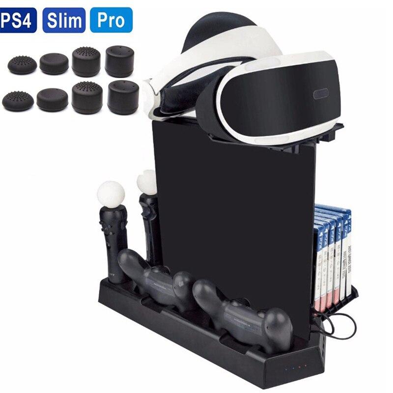 Pour PS4/PS4 Mince/PS4 Pro PS Déplacer VR Verre Vertical Stand Ventilateur De Refroidissement Contrôleur Chargeur Dock Station CD De Stockage Vitrine Multi