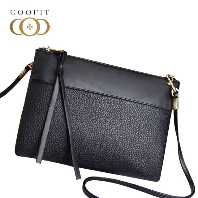 Coofit Simple Women s Clutch Bag Casual PU Leather Mini Crossbody Bags For  Lady Girls Messenger Bag Cheap Female Black Clutchs b9adac4aa37e