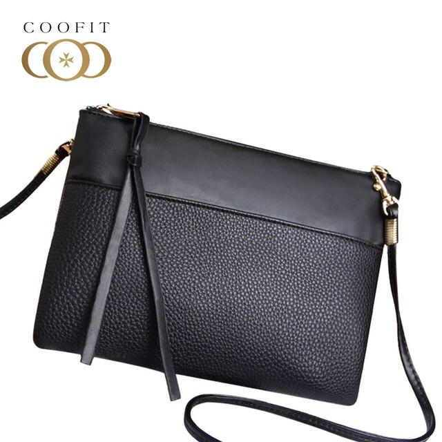 2001b4786b Coofit Simple Women s Clutch Bag Casual PU Leather Mini Crossbody Bags For  Lady Girls Messenger Bag Cheap Female Black Clutchs