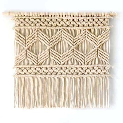 macrame wall hanging decoration wall art handmade tapestry murale with lace fabrics for home. Black Bedroom Furniture Sets. Home Design Ideas