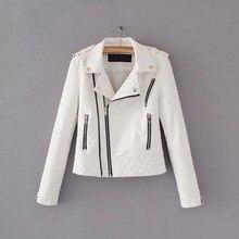 2018 nuevas chaquetas de cuero de imitación suaves de otoño para mujer con cuello vuelto para mujer con cremalleras de motociclista
