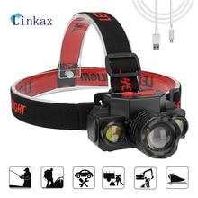 1*XPE+2*COB LED Headlamp Telescopic Zoom Function Waterproof Headlight USB Charging Headlight For Outdoor,Hiking,Night fishing