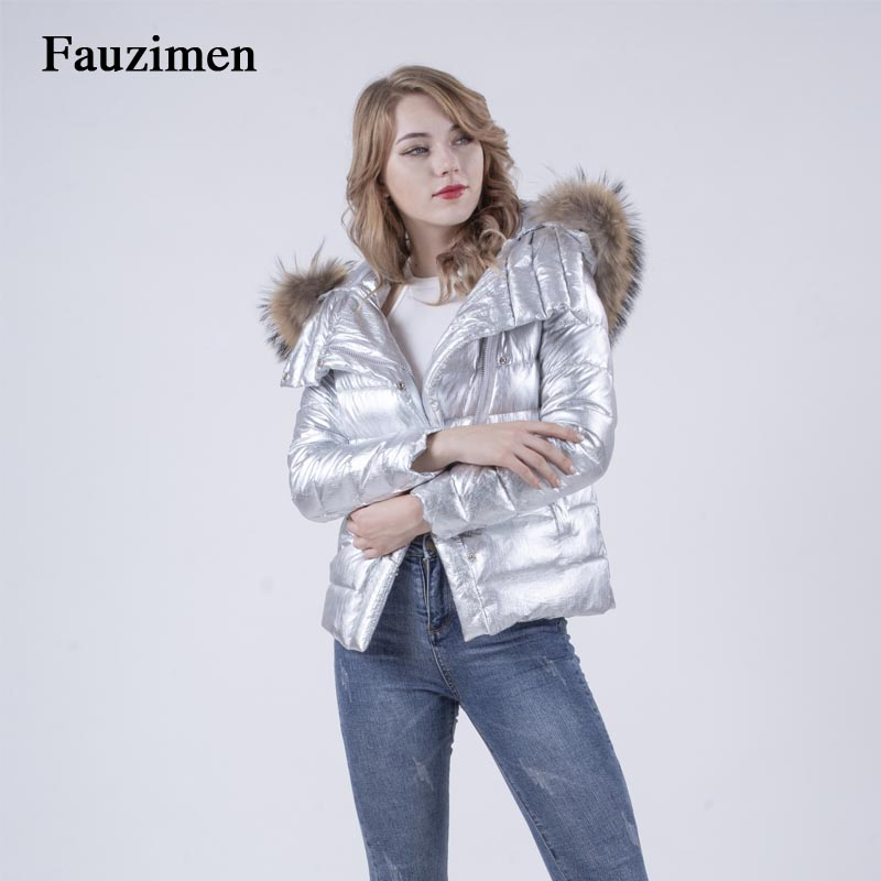 2018 réel fourrure col manteau argent 90% blanc canard hiver veste femmes manteaux court grande taille slim vêtements épais