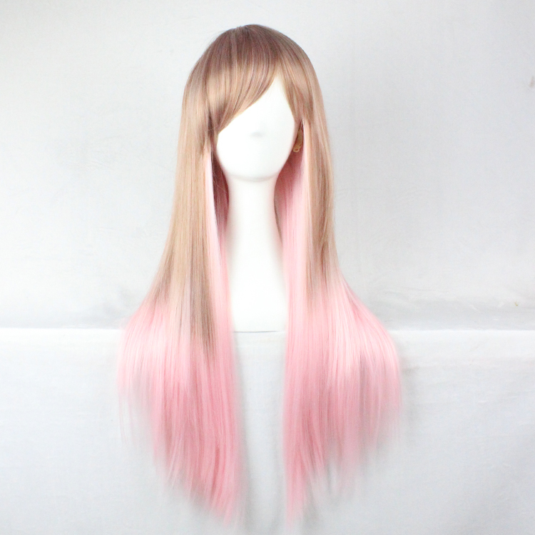 70cm New Cute Lolita Style Womens Wigs Long Straight Flax Gradient