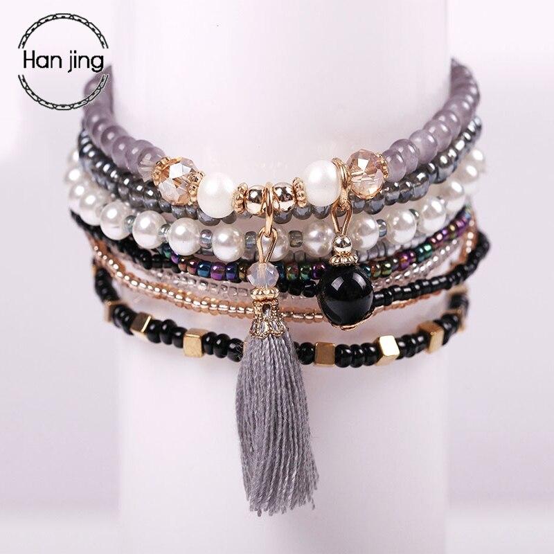 Boêmio amizade pulseiras & pulseiras para mulher boho cristal grânulos borla charme pulseira definir femme pulseras mujer jóias presente