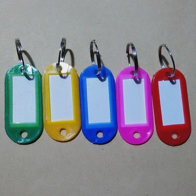 10 pcs/lot nouveauté assorties rouge rose vert bleu jaune cristal clé en plastique étiquettes didentification carte Split anneau porte-clés