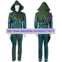Free shipping Custom Made Oliver Queen Cospla Costume Green Arrow from Arrow (TV series) High Quality Christmas