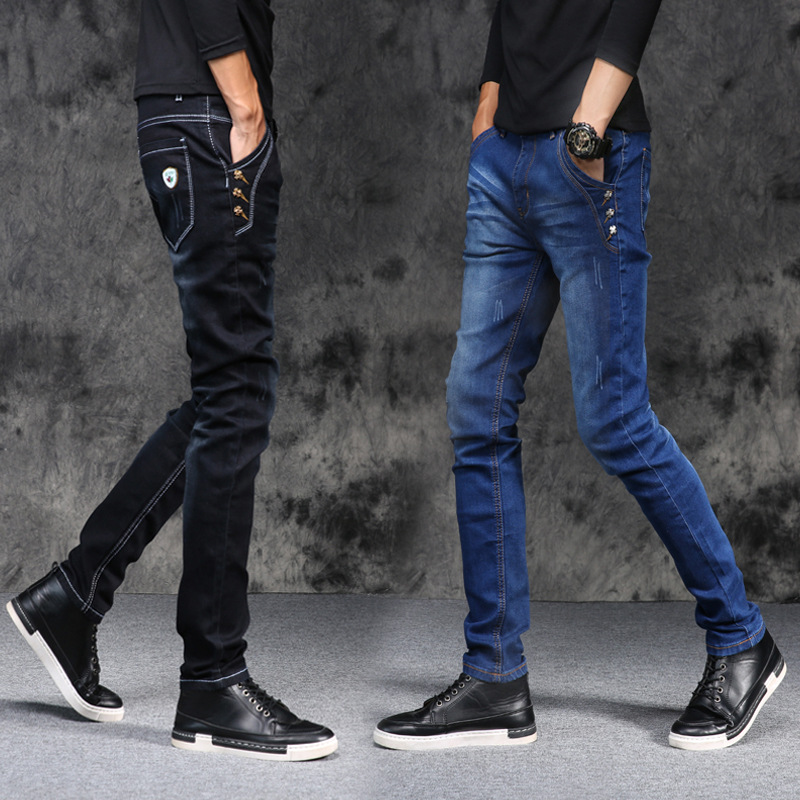 Autumn/winter 2018 men with dark stretch feet tide jeans mens cultivate ones morality leisure trousers teenagers