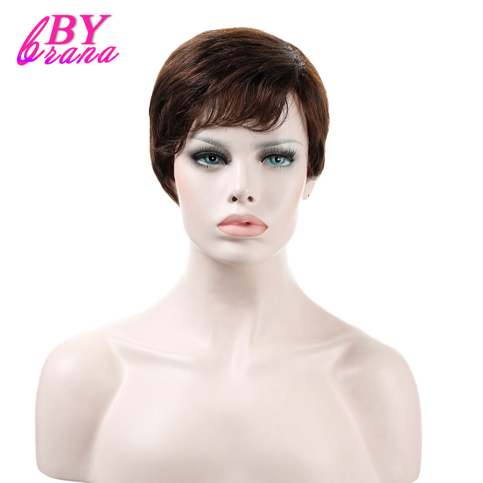 Bybrana Straight Short None Lace Wigs For Women 6inch Natural Color Brazilian Remy Human ...
