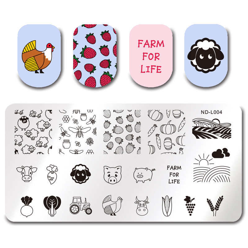 NICOLE DIARY Nail Stamping Plates Necklace Flower Animal Pattern Nail - Манікюр - фото 6