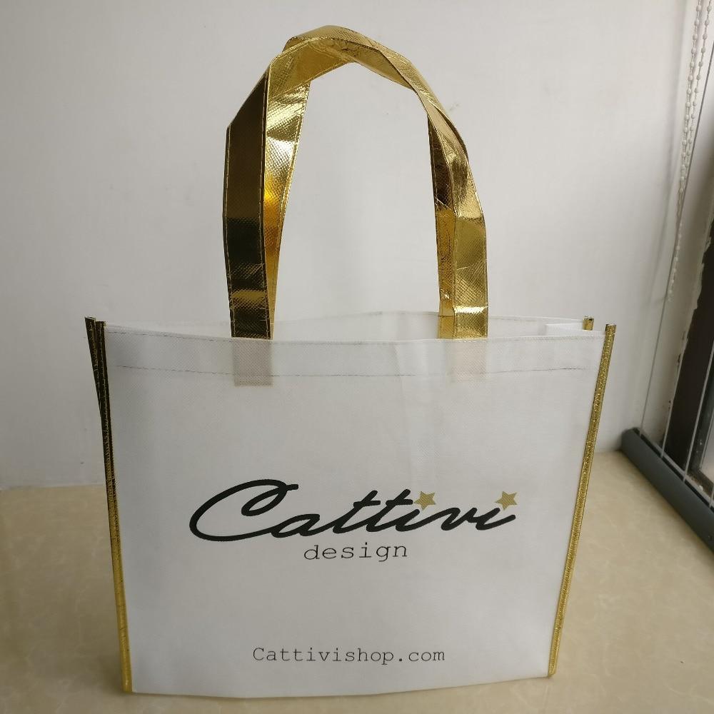 Venta al por mayor 1000 unids/lote 30Hx35X8cm bolsa de compras reciclada no tejida personalizada con ribete metálico y asas para embalaje de zapatos-in Bolsas para compras from Maletas y bolsas    1