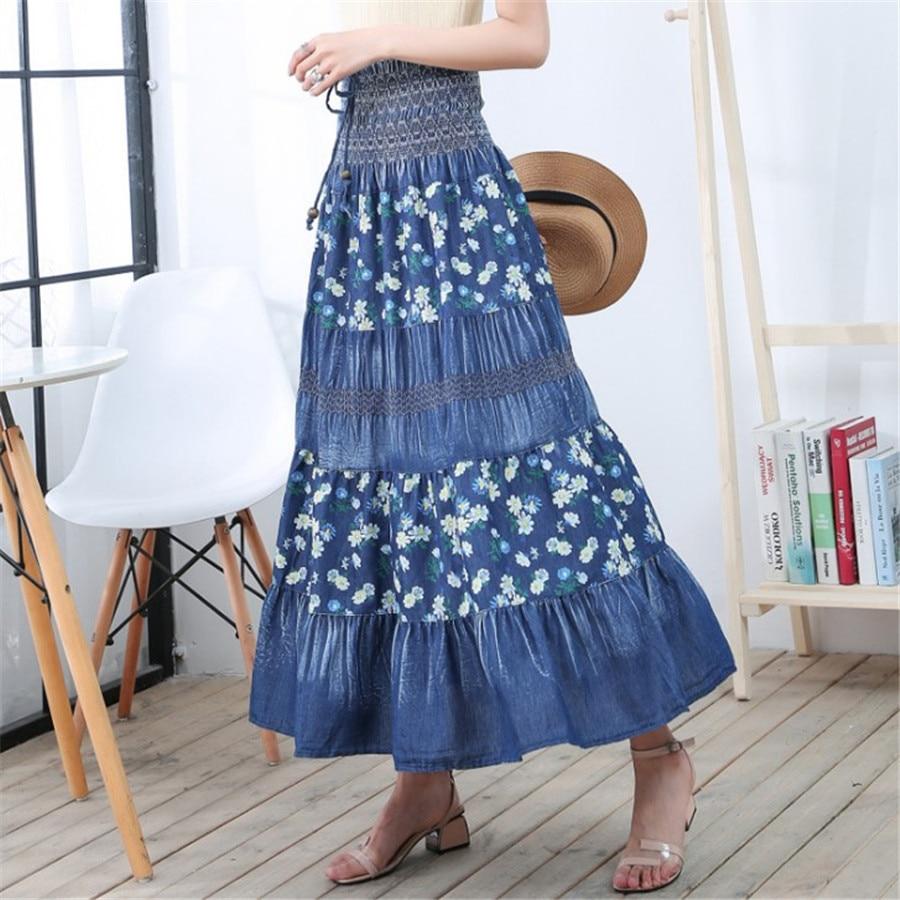 High Waist Long Denim Skirt Women Vintage Maxi Pleated Skirt Casual Elegant Elastic Floral Jean Skirt Jupe Longue Femme Ds50663
