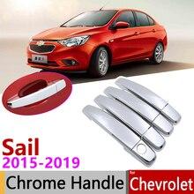 Per Chevrolet Nuova Vela 2015 ~ 2019 Luxuriou Cromo Esterno Maniglia di Portello Della Copertura Accessori Per Auto Adesivi Trim Set 2016 2017 2018