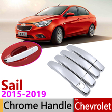 for Chevrolet New Sail 2015~2019 Luxuriou Chrome Exterior Door Handle Cover Car Accessories Stickers Trim Set 2016 2017 2018