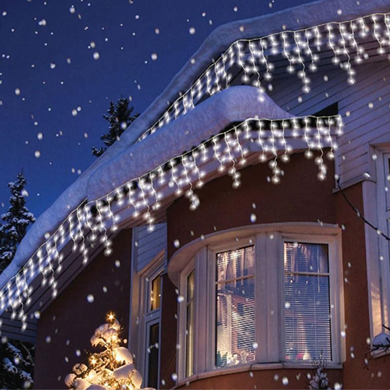 top sale led christmas icicle light string waterproof 63m 600leds droop wedding christmas lighting decoration curtains garlands in led string from lights