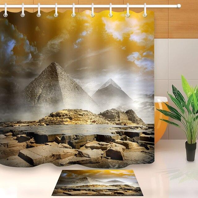 LB 3d Extra Long Pyramid Khufu Ancient Egyptian Exotic Shower Curtain Liner And Bath Mat Set