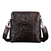 New Men Genuine Leather Messenger Shoulder Bag Crocodile Grain Patterns Vintage Cross Body Business Casual Bags