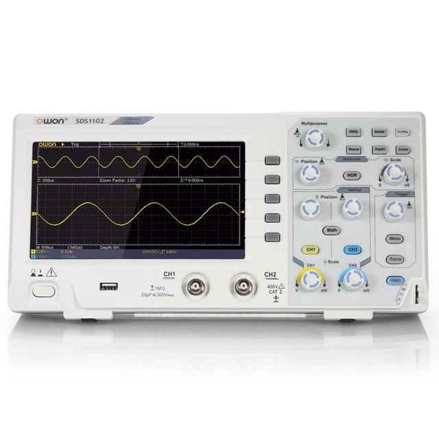 OWON SDS1102 2-Channel Digital Oscilloscope with 100MHZ Bandwidth 1GS/s Sample Rate
