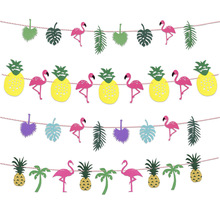 3M Flamingo Hawaii Garland Tropical Coconut Leaves Banner Flag Party wedding decoration Supplies birthday party decorations kids