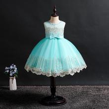 baby girl clothes party dress for kids Gemstone decoration Sleeveless Embroidery Wedding presiding tutu