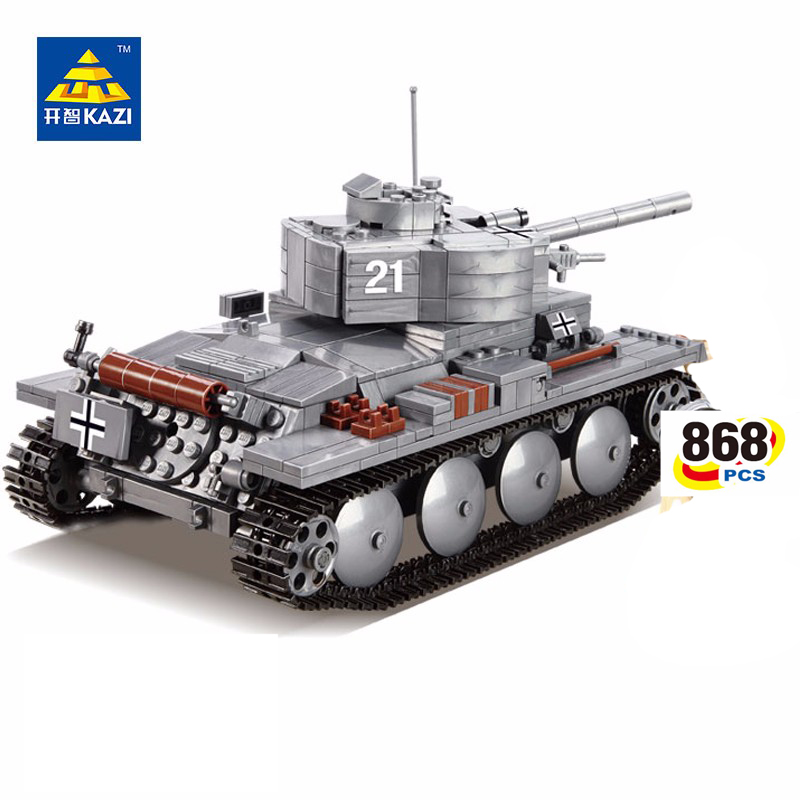 KAZI 82009 Military German The Tiger Tank Blocks 868pcs Bricks PZKPFW-II Tank Building Blocks Sets Educational Toys for Children kazi military building blocks diy 16 in 1 world war weapons german tank airplane army bricks toys sets educational toy for kids