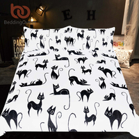 BeddingOutlet Cartoon Bedding Set for Kids Animal Single Bed Set Cute Cats Print Duvet Cover Black and White Home Bedclothes