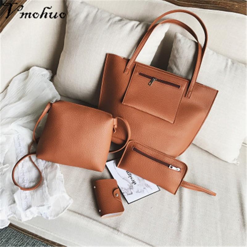 VMOHUO 4pcs/set Fashion Women PU Leather Handbag Lady Large Capacity Shoulder Bag Sets Messenger Bag Clutch Casual Tote Bags 1
