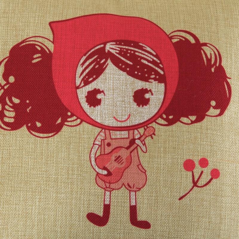 Cute Girl Cushion Мұқабасы Linen Cotton Үй Декор Sofa - Үй тоқыма - фото 3