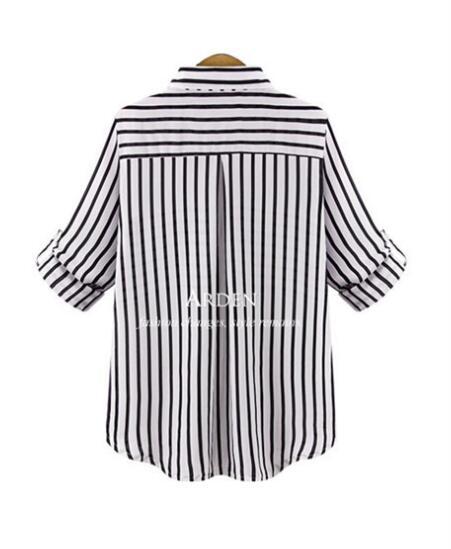 La Chemises À Casual Manches blanc Longues Femmes Cardigan Rayé Tops Bouton Chemise D'été 2018 Noir Plus Taille qwOnpd