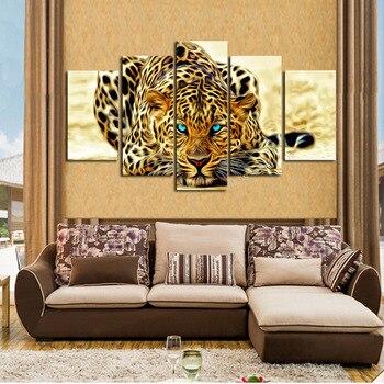 5 Pannello 3D Animali Della Pittura Pop Art HD Stampa Leopardo Modulare su Tela di Canapa Moderna Poster Immagine Della Parete Poster Soggiorno A Casa Decor