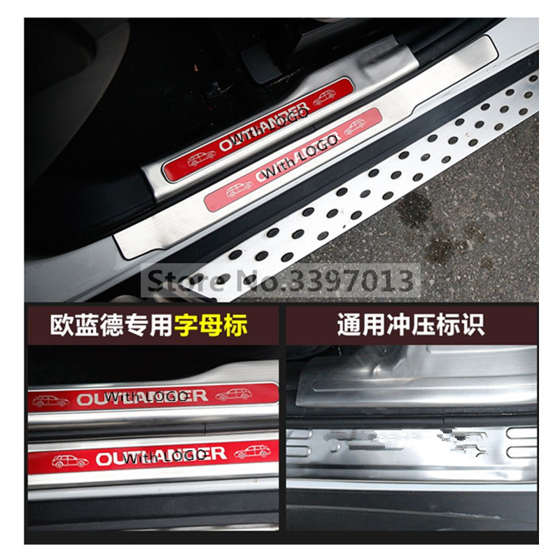 High quality stainless steel inside external Scuff Plate/Door Sill For 2013 to 2017 Mitsubishi Outlander Samurai car styling-in Nerf Bars & Running Boards from Automobiles & Motorcycles    2