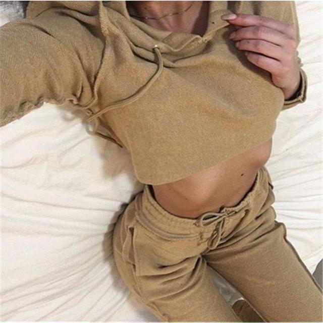 Nuevo Otoño Hoodies de Las Mujeres Chándal $ number Piezas Conjunto de Color Caqui/Negro (Sudadera Con Capucha + Pantalones Largos) Trajes de Ocio
