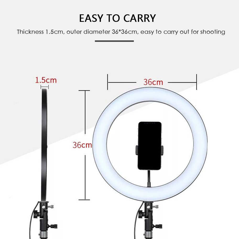 dimmable live stand fill light LED Selfie Ring Light 18W 5500K Studio Photography Fill Ring Light for Smartphone Makeup