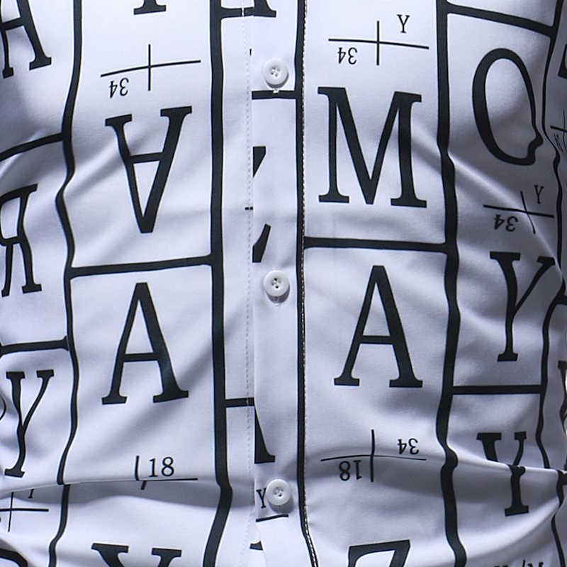 大文字英字プリントシャツ男性 2018 春秋の新スリムフィット長袖シャツメンズカジュアルドレスシャツのため男性