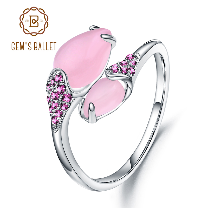 GEM'S BALLET Natural Pink Calcedony Cocktail Ring 925 Sterling Silver Gemstone Open Rings For Women Fine Jewelry Birthday Gifts