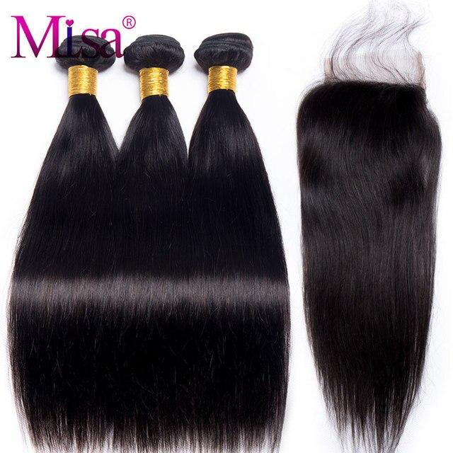 Cheveux raides Bundles Avec Fermeture 3 Faisceau Mi Lisa Cheveux Malaisiens Partie libre Dentelle Non Remy 4 Pcs de Cheveux Humains Bundles avec fermeture