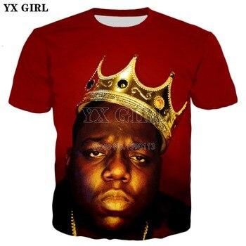 Yx chica 2018 verano nueva moda para hombre 3D camiseta legendary rapper  Biggie Smalls imprimió la camiseta de las mujeres de los hombres Hip Hop  camisetas ce392e5a51b