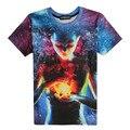 2016 Новый galaxy пространство отпечатано творческий майка 3d мужская футболка летом новинка 3D feminina психоделический футболки одежда