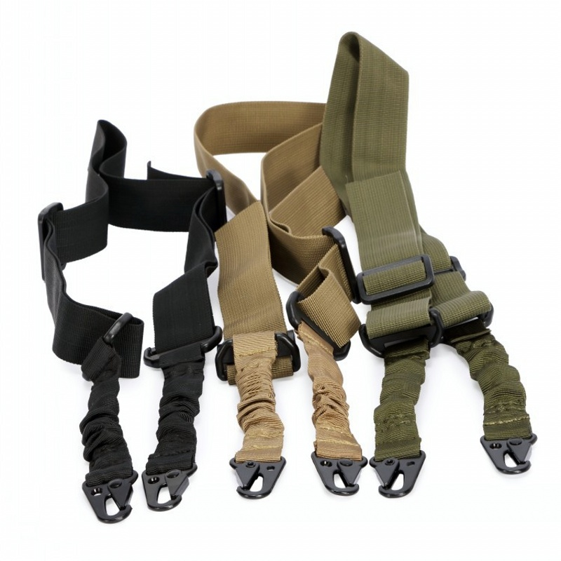 CQC Tactical Multi-function Adjustable Two Point Rifle Sling Mount Bungee Airsoft Paintball Hunting 2 Point Pistol Gun Strap