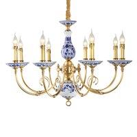 Королевский синий и белый фарфор керамика Люстра Подвеска светильник для пентхаус Гостиная Коллекционные вещи Lampadario