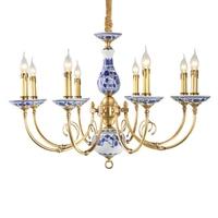 Royal Blue & White Porcelain ceramics Chandelier suspension lighting Luminaire for penthouse Living Room Collectibles Lampadario