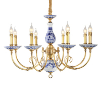 Royal Blue & White Porcelain ceramics Chandelier suspension lighting Luminaire for penthouse Living Room Collectibles Lampadario
