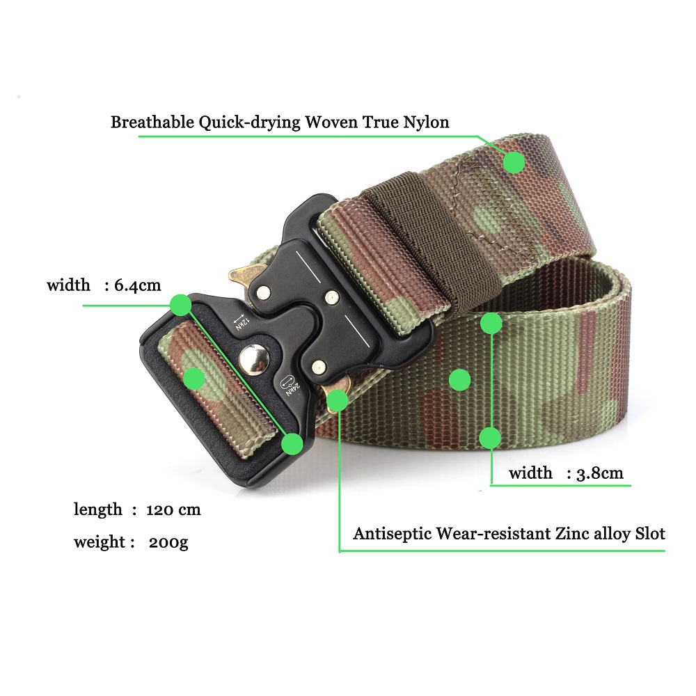 Men's Belts Camouflage Jungle Desert Mens Tactical Belt Military Belts Outdoor Multifunctional Training Belt High Quality Strap Ceintures