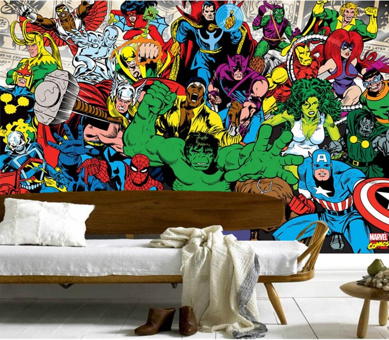 Custom 3D murals,American comic fashion mural papel de parede,hotel coffee shop bar living room sofa TV wall bedroom wallpaper custom 3d murals cartoon wolf papel de parede hotel restaurant coffee shop living room sofa tv wall children bedroom wallpaper