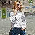 Veri Gude mulheres Cotton solto blusa plissado camisa branca de manga Puff botão escondido