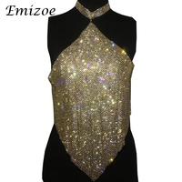 Emizoe shine bling rhinestone halter tops women handmade metal party clube tank tops 2017 beach hollow out tops