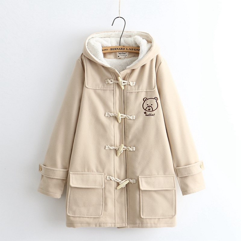 Horn button woolen preppy style Cute bear embroidery hooded jacket coat mori girl